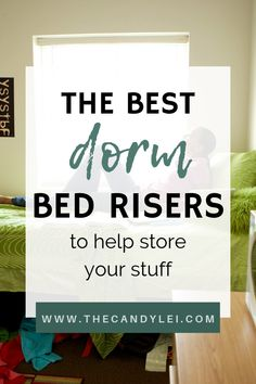 Looking for some good dorm organization ideas? Create all the dorm storage space you need with some handy bed risers. You'd be surprised how much stuff you can store under your bed when you lift it just a few inches. College Dorm Bedding, Dorm Room, College Dorms, College Hacks, College Life, Lift Up Bed, Bed Lifts, Diy Dorm Decor, College Dorm Decorations