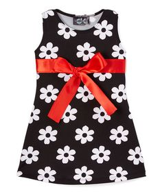 Love this Black & Red Floral Bow Dress - Infant, Toddler & Girls on #zulily! #zulilyfinds