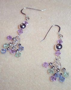 Mutli Color Swarovski Crystal Earrings - $20.00 - Handmade Crafts by Crystal Artisan Jewels