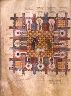 Es en la primera mitad del s. X cuando, para enfatizar y hacer expresivos sus textos, el pintor Magio ilustró y plagó de escenas sus Comentarios: ese fue el inicio de los libros miniados hispanos, que se llamarían Beatos. Beato de Liébana. Comentario del Apocalipsis, 968. Morgan Library, Nueva York