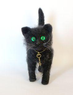 Needle Felted Cat. Black Cat. Kitty. Green by HandMadeArtForYou, $65.00