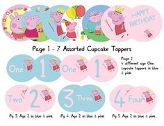 Peppa Pig Children Girls Birthday Cupcake toppers Party Invitation(not included) Decoration Theme Pink