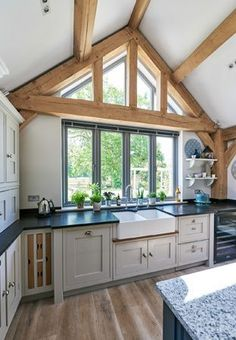 Kitchen island ideas for inspiration on creating your own dream kitchen. diy painted small kitchen design - with seating and lighting Barn Kitchen, Open Plan Kitchen, Country Kitchen, New Kitchen, Kitchen Decor, Kitchen Island, Kitchen Cabinets, Border Oak, Oak Frame House