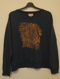 Ralph Lauren Denim Supply Mens Indian Head Logo Blue Crew Neck Sweatshirt Size L