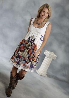 Roper® White Floral Print Empire Waist Western Dress