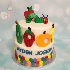 Items similar to Set Fruits and Caterpillar Fondant Cake Decoration on Etsy Hungry Caterpillar Cake, Cake Decorating With Fondant, Fondant Cake Toppers, Birthday Cake, Fruit, Decoration, Unique Jewelry, Handmade Gifts, Party