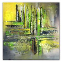 Zitronenbaum abstrakte Malerei grün gelb 80x80 Kunst Wohnzimmerbilder kaufen