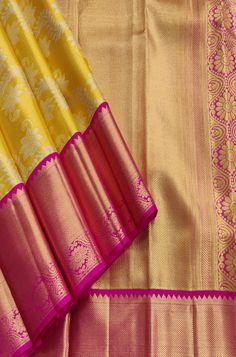Yellow Handloom Kanjeevaram Pure Silk Flower Design Saree contact us on Indian Silk Sarees, Pure Silk Sarees, Designer Sarees Collection, Saree Collection, Silk Saree Kanchipuram, Kanjivaram Sarees, Wedding Silk Saree, Bridal Sarees, Wedding Saree Blouse Designs