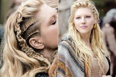 Lagertha hair: get to know the braids inspired by the Vikings and see how to use them . Down Hairstyles, Girl Hairstyles, Braided Hairstyles, Wedding Hairstyles, Viking Braids, Viking Hair, Lagertha Hair, Vikings Lagertha, Lagertha Costume