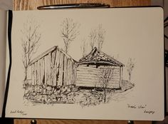An old abandoned farm outhouse on the west side of Langøy Sotra, Norway. Drawn with fountain pen and ink.