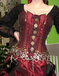"steampunk fashion - Steampunk DIY Pocket Belt. Forget the belt, thats Gail Carrigers ""Spoon Corset""! Buttons and washers and grommets, Oh My!!"