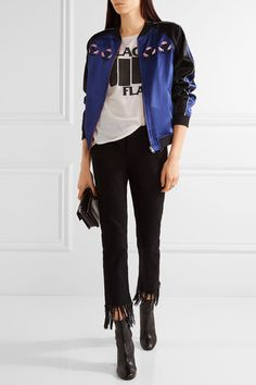 Opening Ceremony bomber jacket, R13 tee, 3X1 jeans, Proenza Schouler bag, Vince boots