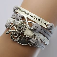Grey Velvet Rope Weaving Owl Bracelet