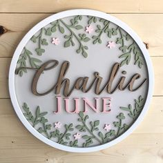 Items similar to Round Baby Name Sign on Etsy Cute Baby Names, Baby Girl Names, Kid Names, Nursery Signs, Nursery Themes, Wood Laser Ideas, Middle Names For Girls, Wood Name Sign, Diy Crafts To Do