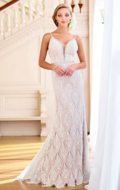 Enchanting by Mon Cheri lace sheath wedding dress with beaded spaghetti straps, deep V-neckline, beaded waist and low back. Fitted Wedding Gown, Wedding Gowns, Tulle Gown, Romantic Lace, A Line Gown, Lace Inset, Bateau Neckline, Mon Cheri, Lace Back