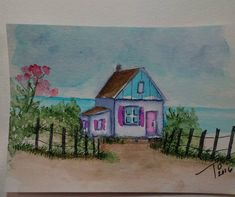 Art Impressions: Ai Wonderful Water Color... Cottage By The Beach (SKU#4606) ... handmade nautical themed watercolor card.