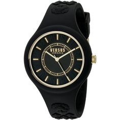 Versus by Versace Fire Island Analog Display Quartz Black Watch ($59) ❤ liked on Polyvore featuring jewelry, watches, quartz movement watches, buckle jewelry, unisex jewelry, lion jewelry and silicone strap watches