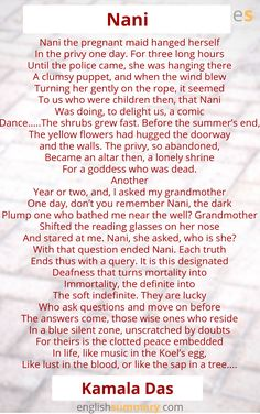 Nani Poem by Kamala Das Morning Poem, English Writing Skills, Long Hours, English Grammar, Doorway, Summary, Grandparents, Learn English, Yellow Flowers