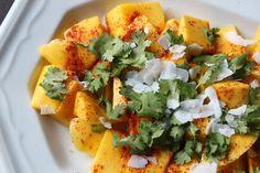 Mango with Cilantro, Coconut, and Chile Powder