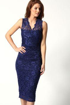 Sarmia Scallop Lace Sleeveless Midi Dress