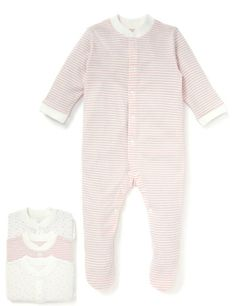3 Pack Pure Cotton Assorted Sleepsuits £13