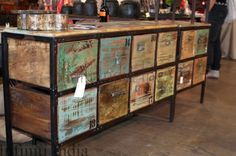 reclaimed wood drawers - this would work great for a kitchen island, but with only 3 or 4 crates Paint Furniture, Furniture Making, Cool Furniture, Furniture Design, Wood Drawers, Salvaged Wood, Recycled Furniture, Rustic Design, Home Crafts