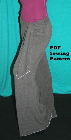 Ladies Yoga Pants Pattern Bell Bottom Lounge Pants Sewing Pattern PDF Printable Pattern Instant Download
