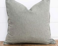 Cushion Cover - Pine Herringbone Stripe with piping Bench Seat Covers, Plastic Planter, Striped Cushions, Rural Area, Contemporary Interior Design, Cushion Covers, Herringbone, Printing On Fabric, Throw Pillows