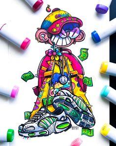 Graffiti Art, Graffiti Doodles, Graffiti Cartoons, Dope Cartoon Art, Cartoon Kunst, Cartoon Design, Marker Kunst, Marker Art, Doodle Art Drawing