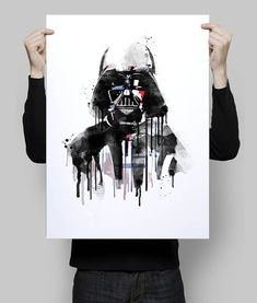 Watercolor darth vader star wars alternative by goldenplanetprints