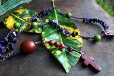 Unisex Tagua nut and acai seed purple macrame by lovingElida, $25.00