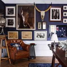 Taking this stylish tailored vintage inspired interior mood with us into our Friday evening!  . Our weakness for navy blue and white knows no limits - how sharp is this Ralph Lauren acacia grass navy blue wallpaper in situ with the white panelling and the stunning, eclectic gallery wall mix! Love  . Greg Natale @gregnatale certainly nailed this look which is classic and timeless. Now, just 5 minutes in that chair with a chilled wine and our weekend is off to a great start!  . We hope yo...