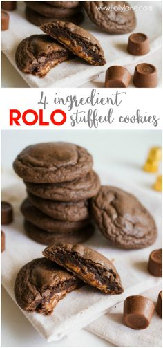 Just 4 ingredients to make these yummy ROLO cookies! We love this caramel treat using a cake mix cookie, easy recipe idea!