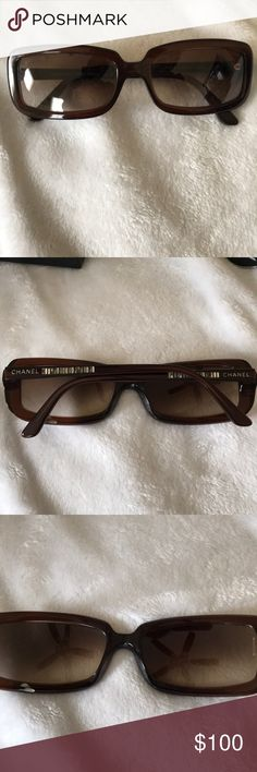 Chanel sunglasses Includes hard case, booklet, and box.  Brown color.  Smaller fit. One lens is off a bit as shown in picture. CHANEL Accessories Sunglasses