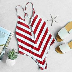 Red White Chevron Print Plunge Neck... Loving this #Style #outfit #ootd #fashion #babe