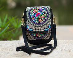 Floral Embroidered Messenger Bag
