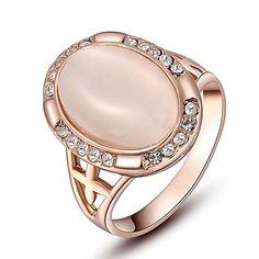 cristales austriacos genuinos clásicos noble regalo subieron chapado en oro ópalo rosa joyería del partido anillo de piedra – CLP $ 5.134