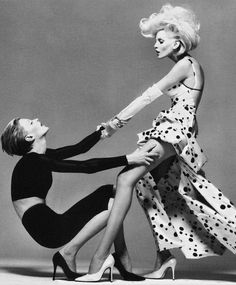 Kristen McMenamy & Nadja Auermann by Richard Avedon for Versace's spring 1995 campaign.