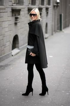 black, wool, cape, coat