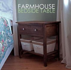 I want to make this!  DIY Furniture Plan from Ana-White.com  A bedside table to match our Farmhouse Beds. Features one large bottom shelf and one large drawer.