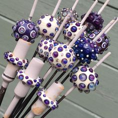 Helen Gorick - purple bumps are Terra Nova 2 Glass Jewelry, Beaded Jewelry, Glass Beads, Craft Jewelry, Jewellery, Fused Glass, Stained Glass, Polymer Clay Beads, Lampwork Beads