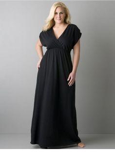 Plus Size - Short Sleeve Boyfriend Maxi Dress