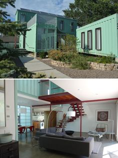 shipping container home made with 6 shipping containers