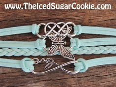 Butterfly Love Infinity Sign Bracelet Teen Girls Faux Leather Women Jewelry