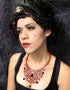 Filigree Laser cut leather bib necklace in red with Black Spinel stones