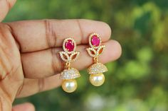 Ear rings Kids Earrings, Diamond Earrings, Pearl Earrings, Drop Earrings, Diamond Jewelry, Gold Jewelry, Jewelery, Latest Jewellery, Simple Jewelry