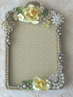 Handmade Altered Vintage Jeweled Picture / Photo Frame
