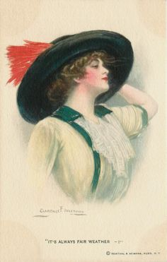 Artist Signed Clarence Underwood 1915 Pretty Woman Big Hat Vintage Postcard | eBay