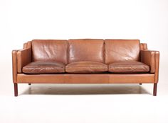 Danish Three-Seater Leather Sofa from Stouby, 1980s 1
