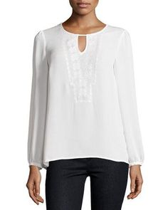 Laundry by Shelli Segal Embroidered Keyhole Blouse, Pearl New offer @@@ Price :$179 Price Sale $99
